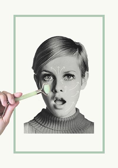 Masajear mi cara con un rodillo de jade